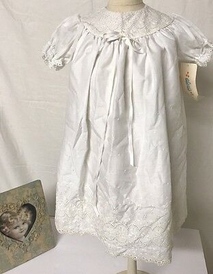New With Tag Vintage White Eyelet Baby Gown Christening Baptism Wedding Angelic