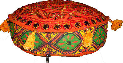 Indian Bohemian Floor Cushion Cover Ottoman/floor/sofa Round Seat Cover Crafted