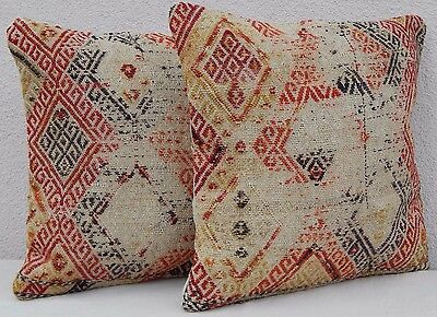 SET OF 2 Antique Collectible Unique Woven Kilim Rug Pillow Covers 16'' X 16''