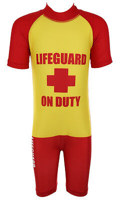 Boys Lifeguard on Duty All in One Swimsuit Surf Suit Swim Costume sizes from 1.5