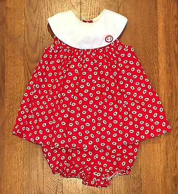 Vintage Nautical Float Tunic/Bloomers Set 24 mo Not Smocked Red White July 4th