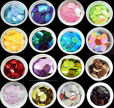34 COLOURS - 100 Large Round 25MM Loose Sequin Flat Sewing Trim Costume BU1195