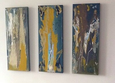Abstract Painting; Firewood an Original Hand Painted Canvas Set Of 3 80 x 30cm