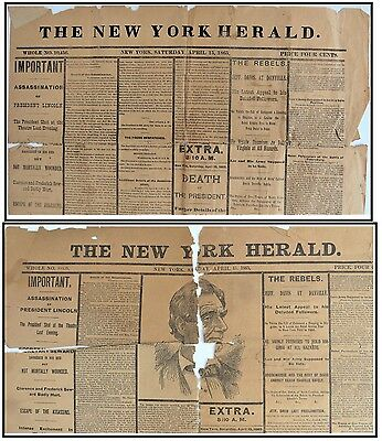 Lot 2 April 15 1865 NY Herald President Abraham Lincoln Assassination Newspapers