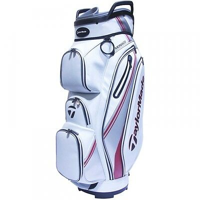 TaylorMade Monaco cart Bag 2017 Model White/Red/silver 14 Way Top