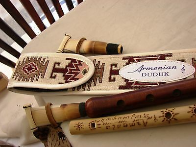 Armenian Pro Duduk and Flute Handmade Apricot Wood Ornament cover and Gift