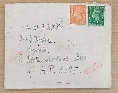 2 Letters to Fusilier Geoff Hulme, Signals, Royal Northumberland Fusiliers, 1943