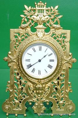 Antique French Couillet Freres 8 Day Ormolu Boudoir Desk Mantle Strut Clock