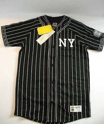 MAJESTIC ATHLETIC  Mens Sportswear Striped Black Shirt Size M NEW WITH TAGS