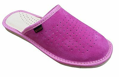 Womens Pink 100% Natural Leather Slippers Mules Slip On  Size 3 4 5 6 7 8