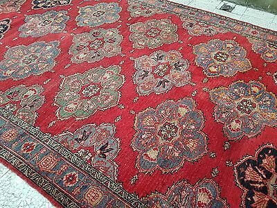 Vintage Handwoven Large Low Pile Pastel Turkish Ushak Oushak RUG 7'9'' X 12'11''