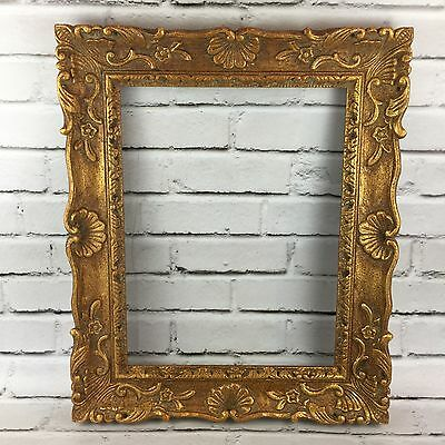 "Vintage Hand Carved Baroque Gold 19 X 23 Picture Frame 3"" Wide"
