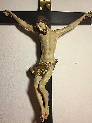 Antique Hand Carved Wood Black Forest Neapolitan Crucifix Jesus Corpus Statue
