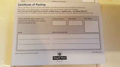 Royal Mail Proof of Posting Pad 50 Pages Brand New