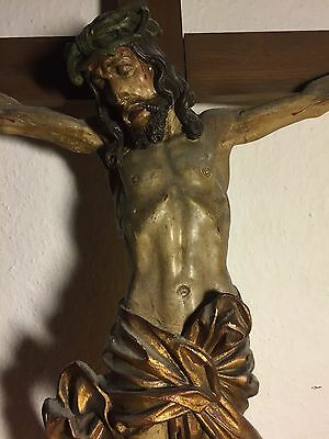 Antique Hand Carved Wood Black Forest Crucifix Cross Jesus Corpus Statue Carving