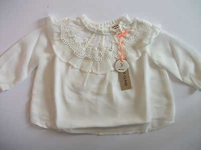 RIVER ISLAND Mini Baby Girls 3-6 months White Long Sleeve Pretty Western Top NEW