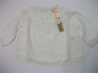 RIVER ISLAND Baby Girls 9-12 months White Long Sleeve Pretty Western Top NEW
