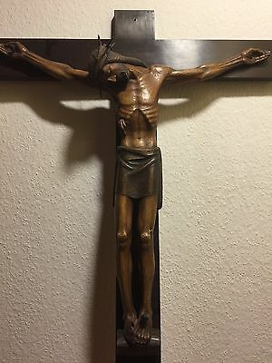 Antique Vintage Hand Carved Wood Black Forest Crucifix Cross Jesus Corpus Statue