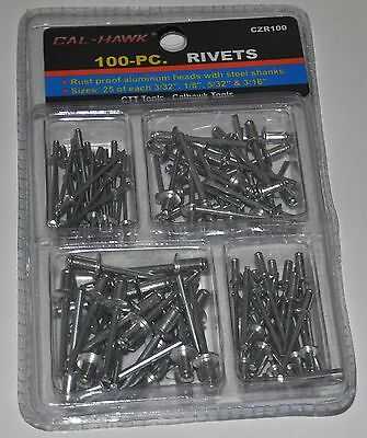 New 100 PC Rivets Set Kit 3/32 1/8 5/32 3/16 Aluminum Pop Riveter Gun Hand Air