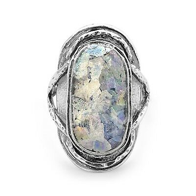 Ancient Roman Glass Ring Oval Shape Antiqued Sterling Silver