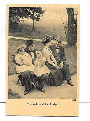 """Vintage Postcard Novelty - """"My wife and the lodger"""""""
