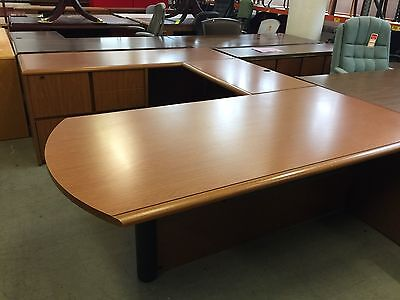 6' x 8' EXECUTIVE U-SHAPE DESK by KIMBALL OFFICE FURNITURE in CHERRY LAMINATE