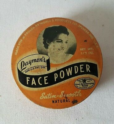 Antique Laymons Face Powder Tin Litho Can Vintage Spencer Indiana Make Up Talcum