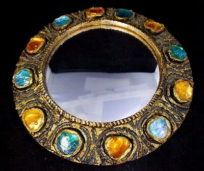 Mid Century Spanish WISY Wood Gesso Gold Gilt, Colored Glass, Mirror.