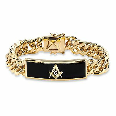 PalmBeach Jewelry Men's Oblong Genuine Onyx 14k Gold-Plated Masonic Bracelet 8""