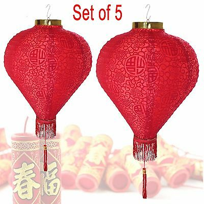 """14"""" (Set of 5) Red Good Fortune (Fu) Oriental Chinese Red Fu Paper Lantern"""