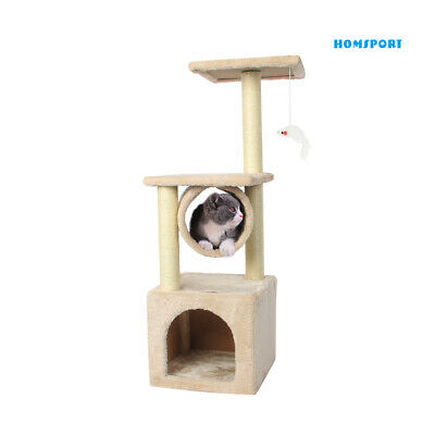 "36"" Cat Tree Bed Furniture Scratching Tower Post Condo Kitten Pet House Beige"