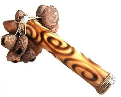 Fair Trade Indonesian Balinese shakers rattle / seed stick / calabash tapar nuts