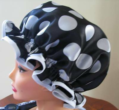 SHOWER CAP HAT   HANDMADE, WATERPROOF black  satin with white  3cm polka dots