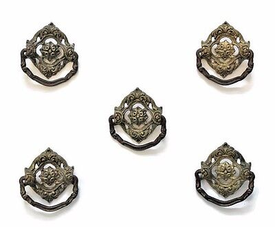 Set of 5 Antique Victorian Brass Drawer Pulls, Door Knocker Style