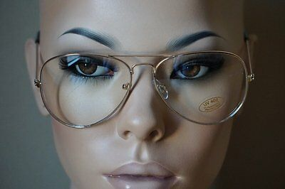 Classic Vintage Retro Aviator Clear Lens Gold Metal Frame Eyeglasses Glasses NEW