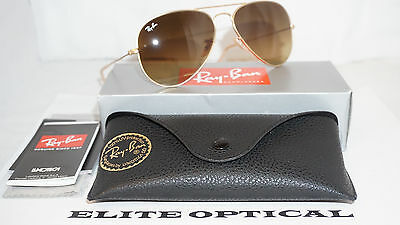 New RAY BAN Aviator Large Gold/Brown Gradient RB3025 112/85 58 14 135