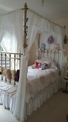 Girl's Antique Brass French Four Poster Bed.