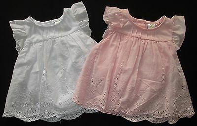 Baby Girls Dress Pink White Dymples Party Frill Summer Floral Sz 0000 000 00 NEW