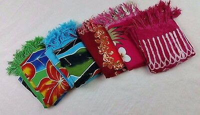 Lot 5 Sarongs Bathing Suit Coverups  5 Assorted Colors Flaws