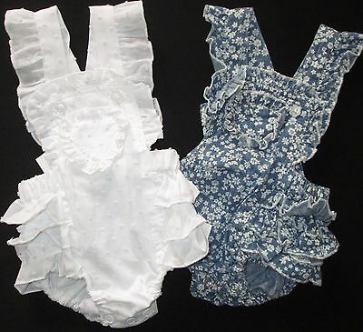 Baby Girls Overalls Denim White Frilly Summer Shorts Dymples Size 0000 000 00