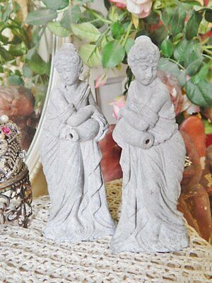 Pair Shabby Vtg Cast Metal Goddess Woman Statue Figurine Fountain Salvage 7""