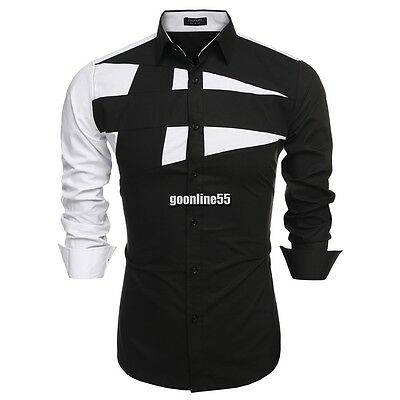 Coofandy Men Fashion Slim Fit Turn Down Collar Long Sleeve Patchwork EA9