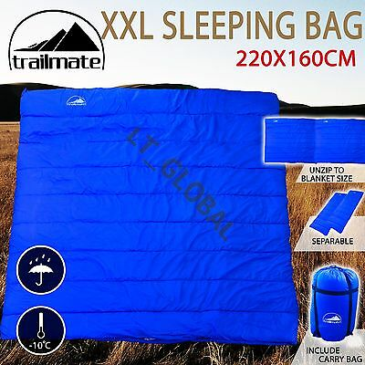 Double Outdoor Camping Sleeping Bag Hiking Thermal Tent Winter 220x160cm