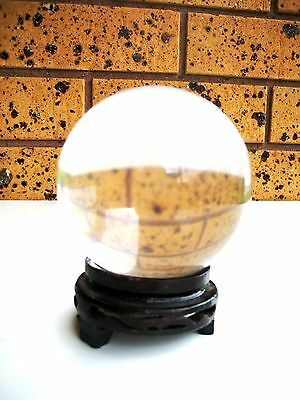 Large AAA Grade 864g Rock Crystal Clear Quartz Ball Orb Sphere on Rosewood Stand