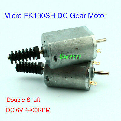 Micro FK130SH Gear Motor Double Shaft With 0.6 Modulus Plastic Worm DC6V 4400RPM