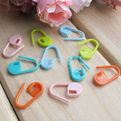 30pcs Colorful Knitting Crochet Locking Stitch Markers Holder Needle Clip Craft^