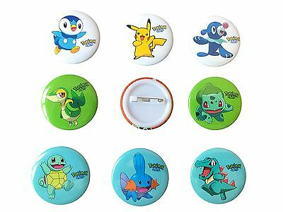 9 x POKEMON Badges Medium PIKACHU Badge Set Party Bag Filler Fillers Decoration
