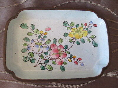 Early Chinese Enamel on Copper Hand Painted Trinket Dish