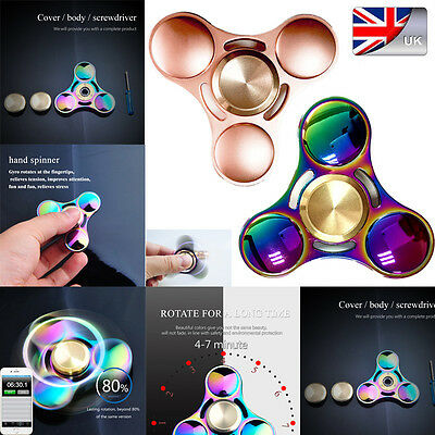 Rainbow Alumium Fidget Hand Spiner Finger Gyro Pocket Toys EDC  Anti Stress Toys