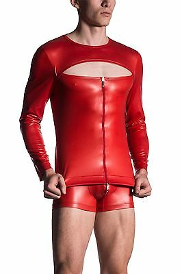 Manstore M510 Wet Look PVC Effect Long Sleeved Zipped Shirt Clubbing Party
